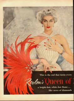 1954 Vintage ad for Revlon's 'Queen of Diamonds' nail polish`Red `2-pgs