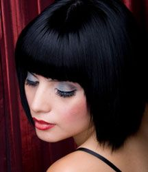 Blue black short bob