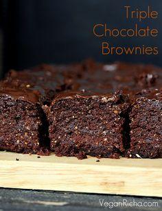Triple Chocolate Salted Caramel Brownies with homemade salted caramel. Dairy-free, egg-free. Vegan Recipe.