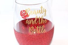 Beauty and the Beast / Belle Wine Glass / Beauty Stemless Wine Glass / Beauty and the Bottle / Disne Wine Glass Sayings, Wine Glass Crafts, Wine Craft, Wine Bottle Crafts, Wine Bottles, Bottle Art, Bottle Lamps, Beer Bottle, Disney Wine Glasses