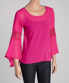 Look what I found on #zulily! Fuchsia Crochet-Accent Bell-Sleeve Top by 3 Angels #zulilyfinds