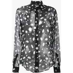 Saint Laurent Saint Laurent Sheer Polka Dot Blouse (£960) ❤ liked on Polyvore featuring tops, blouses, black, cut loose long sleeve shirt, shirt blouse, patterned shirts, long-sleeve shirt and sheer long sleeve blouse
