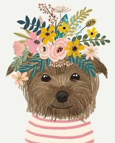 Yorkshire Dog with Floral Crown Art Print – Funny Decoration Gift – Cute Room Decor – Poster by Mia Charro - Canvas Wall Art, Canvas Prints, Art Prints, Dibujos Cute, Dog Illustration, Illustration Flower, Dog Art, Oeuvre D'art, Art Drawings
