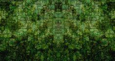 Green Moss Brick Wallpaper