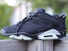 Air Jordan VI low in black Black Jordans, Cheap Jordans, Cheap Nike Air Max, Nike Shoes Cheap, Air Max Sneakers, Sneakers Nike, Air Jordan Vi, Jordan Retro, Black Silver