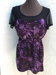 Torrid plus size 1 1X purple floral snake skin print  black sheer top  #Torrid #Tunic #Casual