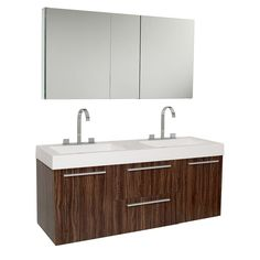 A warm walnut finish highlights this Fresca Opulento modern bathroom vanity. This vanity includes a medicine cabinet and chrome hardware.