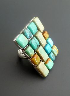 Turquoise Statement Ring - Huge Sterling Silver and Trurquoise Mosaic Statement Ring - Size 9.75