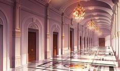 """officialmiraculousladybug: """"Wow, this gorgeous city hall concept art for Transformation Tuesday is fancy! (Anyone else wanna slide down those bannisters? Fantasy Rooms, Fantasy City, Fantasy Castle, Fantasy Places, Fantasy World, Scenery Background, Fantasy Background, Castle Background, Scenery Wallpaper"""