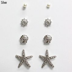 Get ready to hit the boardwalk with these chic earrings! This set comes with 4 stud earrings, as pictured.