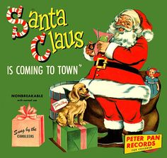 Vintage 1950's Santa Claus is coming to town record