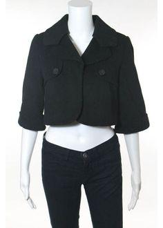 ZARA BASIC Black Wool Button Front Cropped Coat Sz S  #ZaraBasic #BasicCoat