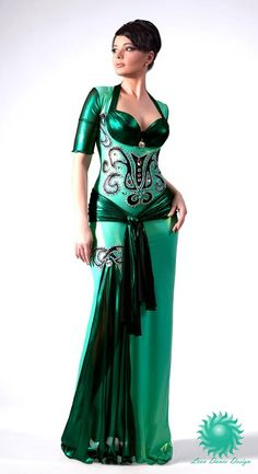 This would work for a number of styles of Egyptian belly dance performance. I'd chose a color besides green though. Dance Outfits, Dance Dresses, Satin Dresses, Belly Dance Outfit, Belly Dance Costumes, Belly Dancers, Dance Wear, Dress To Impress, Beautiful Dresses