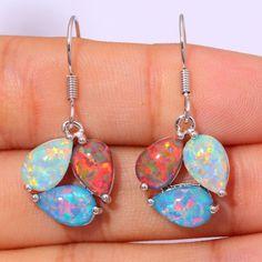 """Rainbow Green Orange Fire Opal Silver Earrings Wholesale Retail For Fashion Women Jewelry Dangle Earrings 1 1/4"""" OH3819"""
