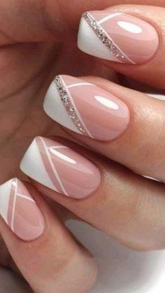 French Nails, Cute Nails, Pretty Nails, Diy Nails, Wedding Nails Design, Nails For Wedding, Ballerina Nails, Manicure E Pedicure, Bridal Nails