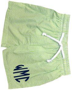 Vive La Fete Monogrammable Boy's Green Seersucker Swimsuit