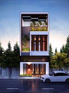 27 Ideas House Exterior Design Modern Architects For 2019 House Front Design, Modern House Design, Small House Design, Facade Design, Exterior Design, Townhouse Exterior, Exterior Houses, Narrow House Designs, Bungalow Haus Design