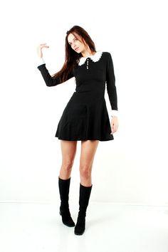 School Girl Dress / Wednesday Dress / Goth Lolita Dress / Psychedelic Dress / Girly Dress / Student Dress / Size S