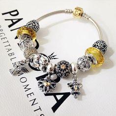 50% OFF!!! $299 Pandora Charm Bracelet Yellow. Hot Sale!!! SKU: CB01935 - PANDORA Bracelet Ideas