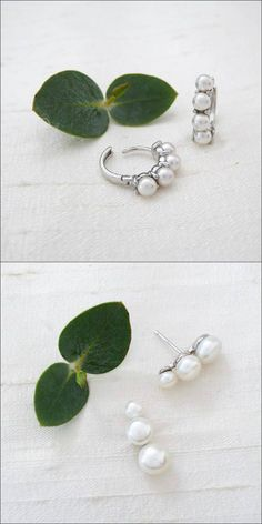 Good things come in small packages. Petite pearl earrings by Be-Je Designs. Pearl Earrings Wedding, Pearl Drop Earrings, Bridal Earrings, Bridal Jewelry, Cuff Earrings, Star Earrings, Girls Earrings, Bridal Accessories, Fashion Earrings