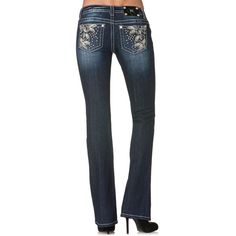 Miss Me Women's Floral and Stud Boot Cut Jeans