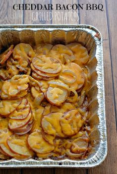 Cheddar Bacon BBQ Grilled Potatoes Recipe We will not be using bacon bits but real bacon adding garlic.and skipping the bbq sauce. Pellet Grill Recipes, Grilling Recipes, Cooking Recipes, Cooking Tips, Barbecue Recipes, Best Bbq Recipes, Barbecue Side Dishes, Grilling Sides, Vegetarian Barbecue
