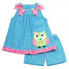 Little Girl Seersucker Owl Set