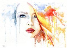 """cora-tiana:  """"When the sun comes after rain"""" Artwork by Cora, 2014 watercolor…"""