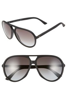 Free shipping and returns on Gucci 61mm Aviator Sunglasses at Nordstrom.com. These bold aviator-style sunglasses are sleekly designed, feather-light and feature understated branding at the temples.