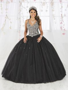 fb17029cc9c Sleeveless V-Neck Quinceanera Dress by Fiesta Gowns 56371