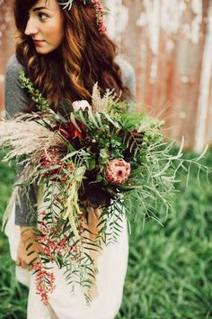 Moody, boho wedding bouquet | photo by Green Antlers Photography