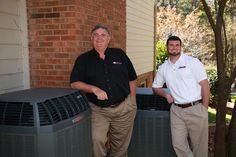 Dan Jape Reliable Heating & Air and my son Daniel Jape posing with some Trane air conditioners.