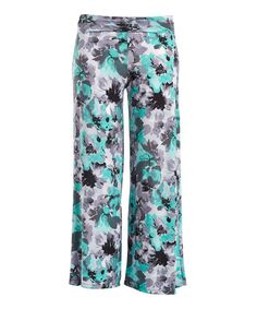 Mint & Gray Floral Palazzo Pants - Plus #zulily #zulilyfinds