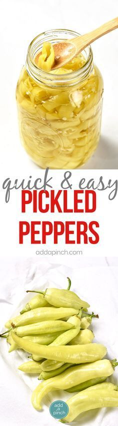 Easy Pickled Peppers Recipe - These Pickled Peppers make a quick and easy way to preserve your banana, jalapeno and other kinds of peppers! Perfect for using throughout the year in dishes like pizzas, soups, salads, sandwiches and so many more! // addapinch.com