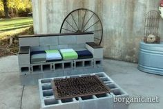 cinder block bench   DIY Cinder Block Couches and Chairs for the back yard