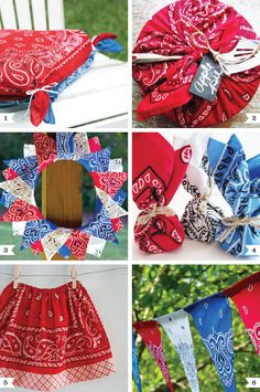 of July banner - diy-bandanna-ideas - Love these! Definitely going to do a couple of these and find some creative uses for bandanas to add some country color to the party decor! Sewing Crafts, Sewing Projects, Craft Projects, Diy Crafts, Fabric Crafts, Crafts For Kids, Bandana Crafts, Bandana Ideas, Diy Love