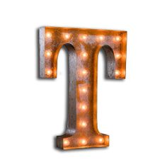 VINTAGE LETTER LIGHT T – Vintage Letter Lights from letterlights.co.uk have a vintage style and enable you to have your own initials, words, expressions, or monograms that illuminate! Reminiscent of Las Vegas hotel signs, circus lights and fairground ride lighting of years gone by. Letter lights look truly stunning and can transform any room at home or event and create a unique focal point. Choose any individual letter from the alphabet and create your own words or name in lights.
