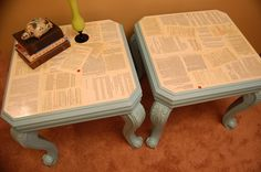 Sophisticated Junk Pile: Grammar End Tables -Turquise and Decoupage- Classroom Furniture, Library Furniture, Classroom Decor, Future Classroom, Staff Lounge, Student Lounge, Furniture Repair, Furniture Makeover, Growth Mindset Classroom