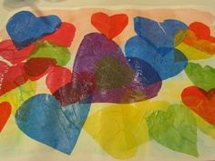 Glue painted tissue paper hearts