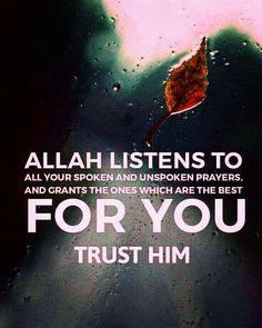 Allah always listens our Prayers. Islamic Qoutes, Islamic Teachings, Islamic Inspirational Quotes, Muslim Quotes, Religious Quotes, Spiritual Quotes, Positive Quotes, Quran Verses, Quran Quotes