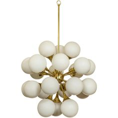 Fabulous brass sputnik chandelier with frosted glass globes. found on Polyvore