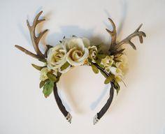 Rites of Spring Deer Antler Floral Hairpiece by sweetmildred, $30.00