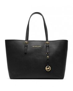 Michael Kors Jet Set Travel Tote Black Saffiano Leather