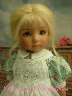 """New Blonde Mohair French Braid & 6 HT Hairbows for Effner 13"""" Little Darling"""