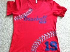 Red tee mustang baseball. Glitter laces. Contact us @ sales@lmspiritgear.com