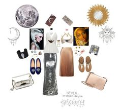 """""""Sister Sun & Sister Moon"""" by sungoddess589 ❤ liked on Polyvore featuring Disney, Wella, WithChic, Miss Selfridge, Carolina Glamour Collection, Bling Jewelry, Oscar de la Renta, Stephen Dweck, Gurhan and Aamaya by Priyanka"""