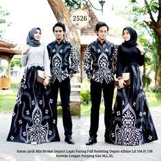Batik Couple Gamis Brokat 2526 a Batik Muslim, Kebaya Muslim, Batik Fashion, Hijab Fashion, Baju Couple Muslim, Couples Modeling, Model Kebaya, Hijab Wedding Dresses, Modern Hijab