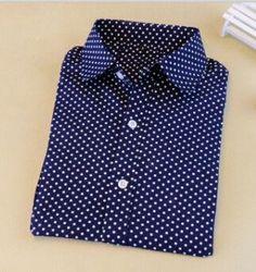 New Brand Polka Dot Shirt Women Long Sleeve Blouse Cotton Plus Size Ladies Tops Turn-Down Collar Women Blouses Femininas Camisa