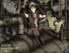HOLY SEXY!!!!! Aph Denmark   Some steampunk!Denmark as a contest prize for Camilla205 on DevianART~ http://maivalkov.deviantart.com/art/Contest-Prize-Hard-at-Work-486585549