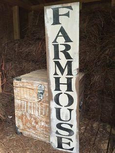 """Farmhouse"" Vertical Rustic Wood Sign   Oconee Sign Shack"